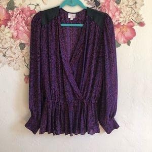 Parker Bishop Sleeve silk speckled blouse size Med
